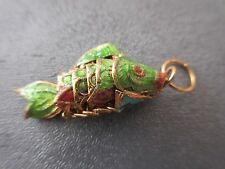 Cloisonne Articulated Mini Wiggle Fish Charm Pendant Green 1pc