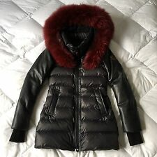 Nicole Benisti Long Black Leather Deep Red Fur Down Parka Coat Sz XXS NWOT $925