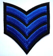 US ARMY SERGEANT STRIPE E-5 Blue Black Embroidered Iron on Patch Free Shipping