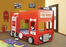 FIRE ENGINE BUNK BED IN RED INC 2 X 3FT MATTRESS