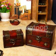 2Pcs Vintage Big Small Jewelry Organizer Wooden Chest Wedding Home Gift Box