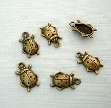 Ladybug Alloy  Pendant Charm Lady Bug Antique Bronze Plated - 15pcs.