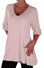 Womens Fashion 3/4 Sleeve V Neck Plain Long Casual Plus Size Blouse Tunic Top