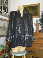 Women's Classic Gorgeous Piano Black Silk Tuxedo Sequined & Beaded Jacket S