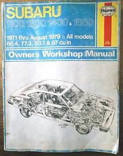 1971-1979 Subaru 1100, 1300, 1400 & 1600 Haynes Auto Repair Service Shop Manual