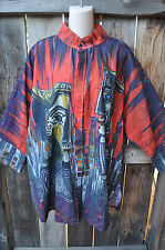 DILEMMA HAND PAINTED PICASSO INSPIRED BUTTON FRONT ART TO WEAR COTTON SHIRT