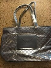 BATH AND BODY WORKS Vip Tote Shiny Gray Silver Tote Bag , NO PRODUCT