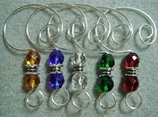 =^..^=  10 YOU CAN PICK Color Glass Bead Ornament Hangers Hooks silver