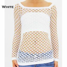 NEW SEXY LONG SLEEVE MESH TOPS 6 8 10 DANCE WEAR BEACH FASHION FISHNET SHIRT S M