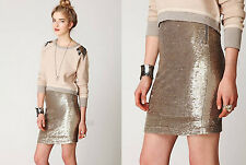 NWT FREE PEOPLE $298 Sequin Holiday Distressed Metal Bodycon Winter Skirt gold S