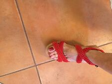 "NEW Minnetonka Designer  3"" Wedge HALEY Sandal Poppy Red Suede Strappy Size 6"