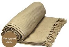 EXTRA LARGE 229cm x 254cm HONEYCOMB WAFFLE SOFA / SETTEE / BED THROW BEIGE