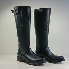 $159 sz 5.5 Steve Madden Trico Black Leather Tall Riding Boots Shoes