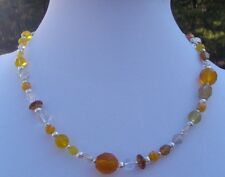 Mixed Up Yellow and Clear Glass Bead Handmade Choker Necklace w/ Silver Accents