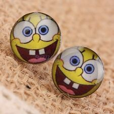A PAIR OF MENS MANS SPONGEBOB THEMED STUD EARRINGS. NEW.
