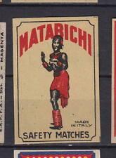 Ancienne étiquette allumettes Italie   Matabichi Afrique