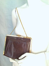 ETRA Snakeskin Karung Alligator Purse or CLUTCH w GOLD CHAIN 1970s NEW OLD Stock