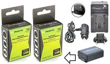 2-Pcs Hi Cap. NP-FW50 Li-Ion Battery With Charger For Sony NEX-5R NEX-F3 NEX-6