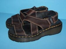DOC DR MARTENS womens mens DARK BROWN LEATHER Airwair SANDALS US 7 UK 6 EUR 38