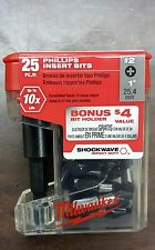 MILWAUKEE 48-32-5009 25pc Magnetic Bit Holder w/ #2 Impact Phillips Bits