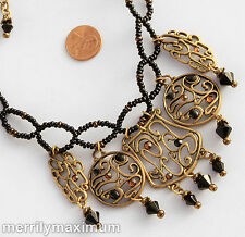 Chico's Signed Antique Gold Tone Necklace Scroll Charms Crystal Accents Black