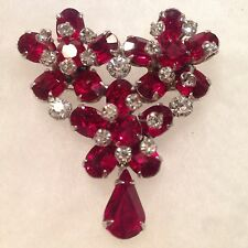 Vintage CHRISTIAN DIOR by Kramer Faux Ruby Red Brooch Pin Crystals