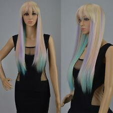 Lolita Sexy Long Straight Full Wig Hair Multi-color Gradient Wigs Cosplay Party