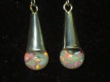BEAUTIFUL  FIERY FLOATING OPALS SNOW GLOBE 925 STERLING EARRINGS
