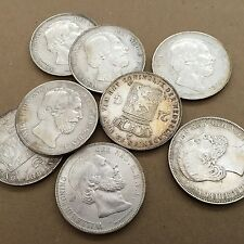 NETHERLANDS WILLIAM III  1872  2 1/2 GULDEN COINS,  XF COINS, GROUP LOT OF (8)