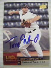 TOMMY MENDONCA signed RANGERS 2009 USA Upper Deck baseball card AUTO CAL-FRESNO