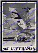 Reklame Lufthansa Boeing 707 D-ABOD Jetdienst Flughafen Frankfurt Luftfahrt 1961