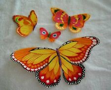 BUTTERFLY APPLIQUES BRIGHT YELLOW & ORANGE X LARGE IRON ON FABRIC  #209