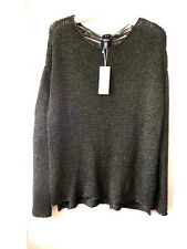 EILEEN FISHER XL Sweater Oxidized Gold Shimmer Black Knitted Pullover  $238 NWT