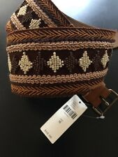 NEW Anthropologie Brown Leather Diamond Embroidered Beaded Belt HIPPIE BOHO SZ M