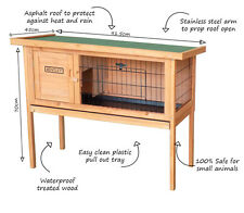 Charles Bentley Wooden Raised Rabbit Hutch Guinea Pig Cage Run w/ Cleaning Tray