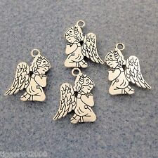 6 pcs Antique Silver Finish Praying Angel Metal Charms 17mm x 23mm  #0535