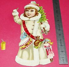 RARE CHROMO 1880-1890 GRAND DECOUPI DIE CUT FILLETTE JOUETS NOËL PETARD