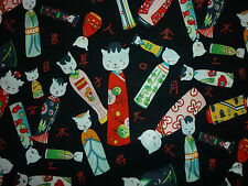 CLEARANCE FQ KITTY KOKESHI CAT KOKESHI DOLLS FABRIC JAPANESE