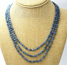 "Hot Fine jewelry 17-19 ""3 rows 4mm faceted Brazil Aquamarine bead necklace AAA"