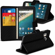 Carbon Fibre Wallet Flip Case Cover For LG Nexus 5X