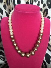 Betsey Johnson Vintage Brown Glass Pearl Ombre Mirrored Crystal Heart Necklace