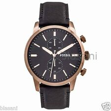 Fossil Original FS5097 Men's Townsman Black Leather Watch 48mm Chonograph