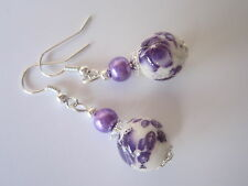 Silver Plated Drop / Dangle Ceramic and Pearl Earrings - Purple Floral