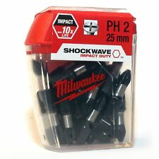 MILWAUKEE SHOCKWAVE IMPACT DRIVER SCREW DRIVER BITS PH2 (25 BITS IN TIC TAC BOX)