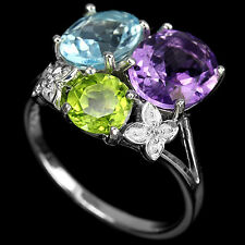REAL MULTI COLOR AMETHYST PERIDOT TOPAZ STERLING 925 SILVER RING 7