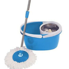 New 360 Rotating Magic Hurricane Mop Microfiber Head Bucket Stainless Steel