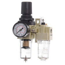 "1/4"" Air Line Regulator Lubricator and Water Trap With Filter Gauge"