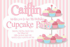 10 PERSONALISED CUPCAKE BAKING TEA PARTY INVITATIONS - GIRLS BIRTHDAY INVITES