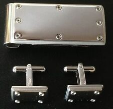 Stainless Steel Money Clip With Matching Cufflinks by Colibri, New In Box