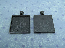 "50 Qty - 1"" Square Pendant Trays - Dark Black Color - Cameo Crafts 25mm 1 inch"